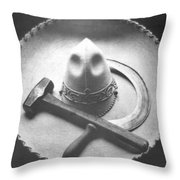 Mexican Revolution Sombrero With Hammer Throw Pillow