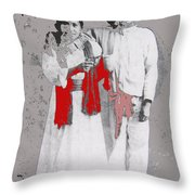 Mexican Revolutionary  Couple In Photo Studio No Location  C.1914-2014 Throw Pillow