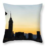 Mexico City Skyline Silhouette Throw Pillow