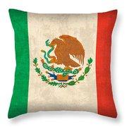 Mexico Flag Vintage Distressed Finish Throw Pillow