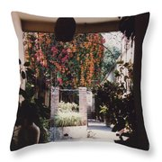 Mexico Garden Patio By Tom Ray Throw Pillow