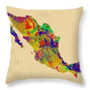 Mexico Map Watercolor Throw Pillow