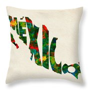 Mexico Typographic Watercolor Map Throw Pillow