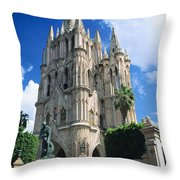 Mexico, View Of Parroquia Church San Throw Pillow by Kyle Rothenborg