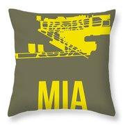 Mia Miami Airport Poster 1 Throw Pillow by Naxart Studio