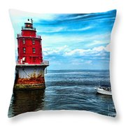 Miah Maull Shoal Lighthouse Throw Pillow