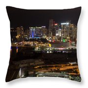 Miami After Dark II Skyline  Throw Pillow