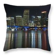Miami At Night Throw Pillow