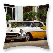 Miami Beach Classic Car Throw Pillow