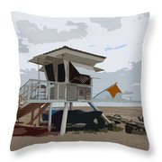 Miami Beach Lifeguard Station II Abstract Throw Pillow