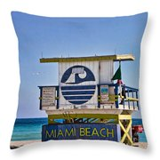 Miami Beach Lifeguard Station Throw Pillow