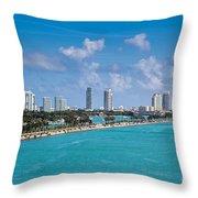 Miami Beach Skyline Throw Pillow