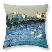 Miami Beach Sunset Throw Pillow