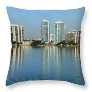 Miami Brickell Skyline Throw Pillow