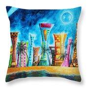 Miami City South Beach Original Painting Tropical Cityscape Art Miami Night Life By Madart Absolut X Throw Pillow