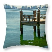 Miami In The Distance Throw Pillow