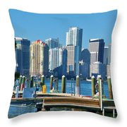 Miami On The Docks Throw Pillow