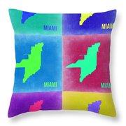 Miami Pop Art Map 3 Throw Pillow