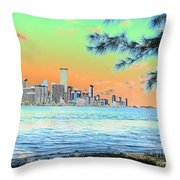 Miami Skyline Abstract II Throw Pillow