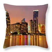 Miami Skyline At Dusk Throw Pillow
