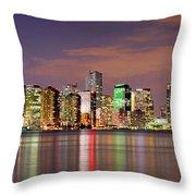 Miami Skyline At Dusk Sunset Panorama Throw Pillow
