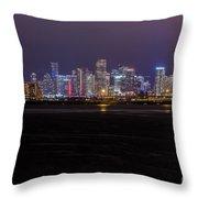 Miami Skyline Bay View Throw Pillow