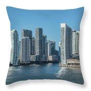 Miami Skyline, Miami-dade County Throw Pillow