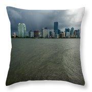Miami Skyline Storm Throw Pillow
