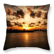 Miami Skyline Sunset Throw Pillow