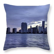 Miami Skyline Waves Throw Pillow