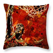 Michael Jordan Throw Pillow by Maria Arango