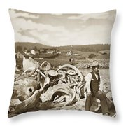 Michael Noon Sitting On A  Pile Of Whale Bones Monterey Wharf  Circa 1896 Throw Pillow