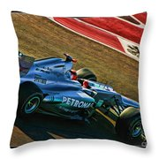 Michael Schumacher Silver Arrows Throw Pillow
