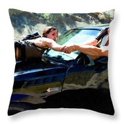 Michelle Rodriguez And Vin Diesel @ Fast To Furious Throw Pillow