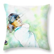 Michelle Wie Hits Her Tee Shot On The Sixth Hole Throw Pillow