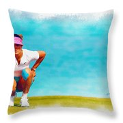 Michelle Wie Lines Up A Putt On The Eighth Green Throw Pillow