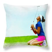 Michelle Wie Of The United States Reacts After Missed Off To A B Throw Pillow