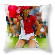 Michelle Wie Of The Usa Solhiem Cup Reacts After Missing A Putt Throw Pillow