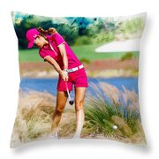Michelle Wie Plays A Shot On The 6th Hole Throw Pillow