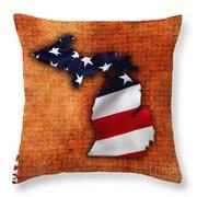 Michigan Amercian Flag State Map Throw Pillow