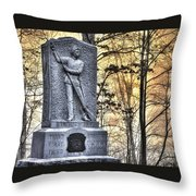 Michigan At Gettysburg - 5th Michigan Infantry Sunrise And Morning Mist In The Rose Woods Throw Pillow