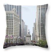 Michigan Ave Dusable Bridge Throw Pillow