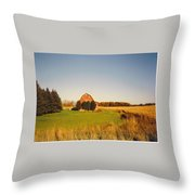 Michigan Barn And Landscape Throw Pillow
