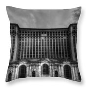Michigan Central Station Bw Throw Pillow