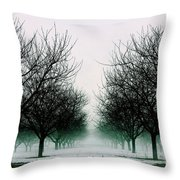Michigan Cherry Trees In Winter Throw Pillow