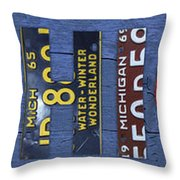 Michigan License Plate Art Lettering Throw Pillow