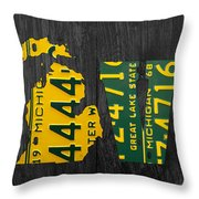 Michigan Love Recycled Vintage License Plate Art State Shape Lettering Phrase Throw Pillow by Design Turnpike