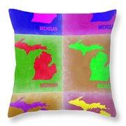 Michigan Pop Art Map 2 Throw Pillow