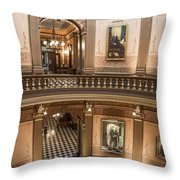 Michigan State Capitol 2 Floors Color Throw Pillow