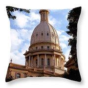 Michigan State Capitol Throw Pillow